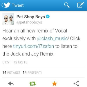 Pet Shop Boys Tweet
